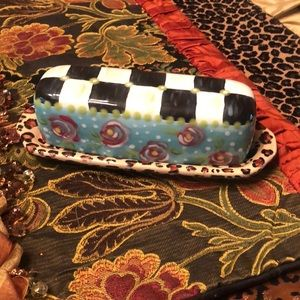 Whimsical Leopard/Rose/check Butter Dish!
